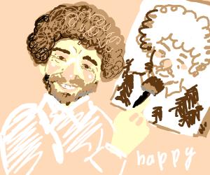 bob ross painting a self portrait