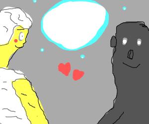 Light and Dark deities share moment under moo