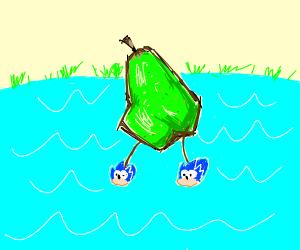 Pear wearing Sonic Shoes walks across a lake