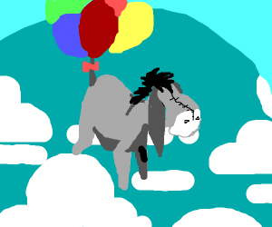 Eeyore takes flight via balloons