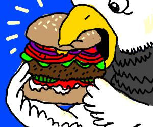 Bird eating a Burger