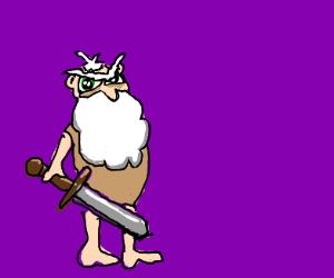 man with beard holding sword