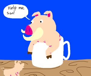 Daddy pig stuck in a mug