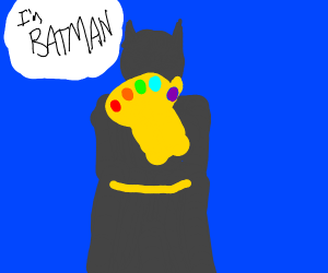 Batman wields the infinity gauntlet