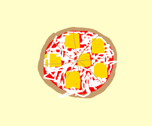 squares of cheese on a cheese pizza