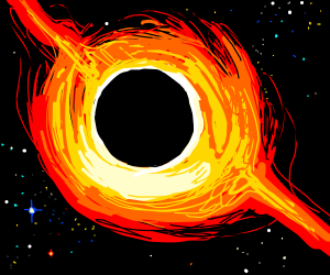 A yellow and orange black hole
