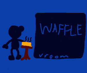 Blue Man stuck in waffle as his hand burns up