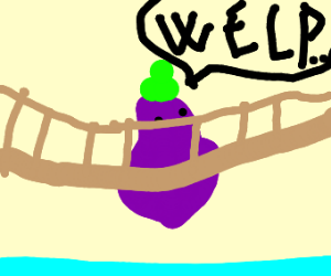 An Eggplant sinking into a Bridge