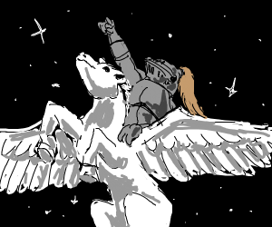 Knight riding a pegasus