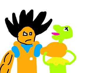 goku and Kermit fight