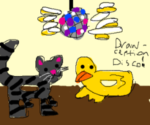 Animals in drawception disco party