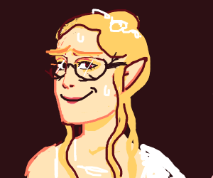 Nervous elven girl with glasses