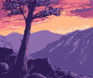 Sunset on a mountain range