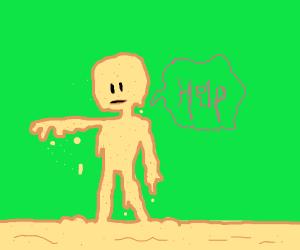 Sand Person falls apart