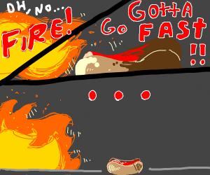 Hotdog runs from a fire