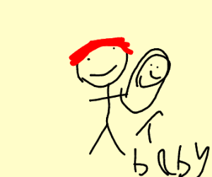 Guy with red hair holding a baby