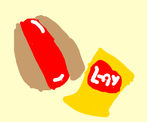 hot dog and chips