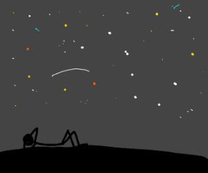 person stargazing