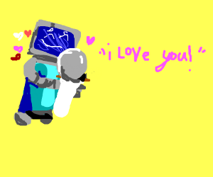 Robot is in love with toilet paper dispenser