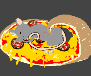 Cute Rat sleeping on half-rolled pizza slice