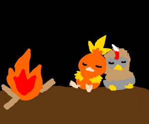 Torchic And Rufflett cuddling near Fireplace