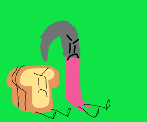 A crowbar is angry alongside a loaf of bread