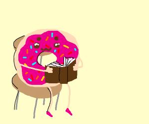 A donut reading a story