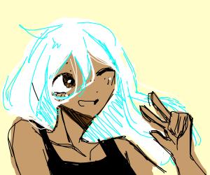 Tan skinned, white hair girl doing peace sign