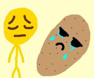sad man and a sad potato
