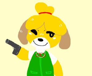 Isabelle animal crossing has a gun