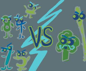 8, 4, 2, 7 and 5 vs Asparagus and Broccoli