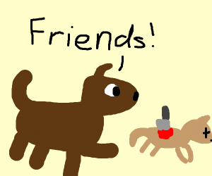 "A dog stabs another dog and says ""Friends!"""