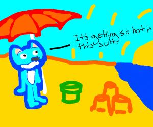 A neon blue furry at a beach