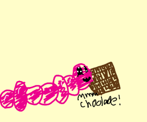 Worm eating chocolate