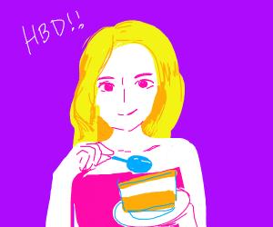 Blond lady eating cake, Happy birthday :)