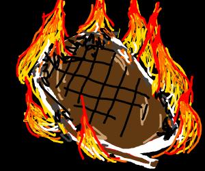 Rib eye steak on fire