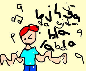 red haired guy singing jibberish