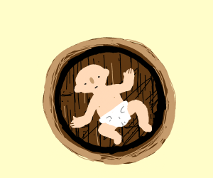 Baby at the bottom of a barrel