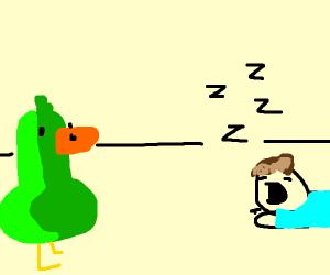duck staring at a sleeping jon from garfield