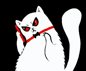 evil cat on the phone