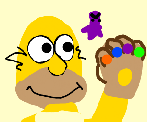 Homer uses infinity gauntlet