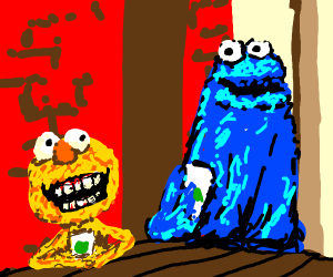 yellmo and brown Cookie Monster having coffee