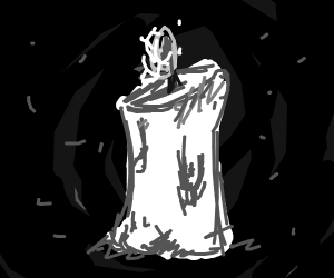 A lit candle among darkness
