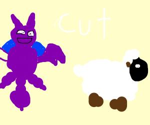 Gligar cuts Wooloo's wool (Pokemon)