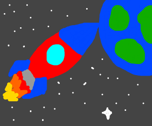 A rocket in space.