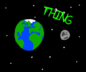 green thing  in space next to earth