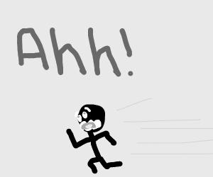 Terrified Man runs