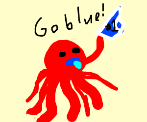 Supportive baby octopus cheers on Blue Team.