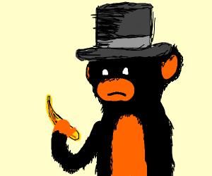 monkey w/ top hat & banana