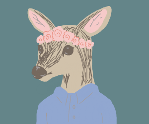 A female deer with a flower crown on it's hea